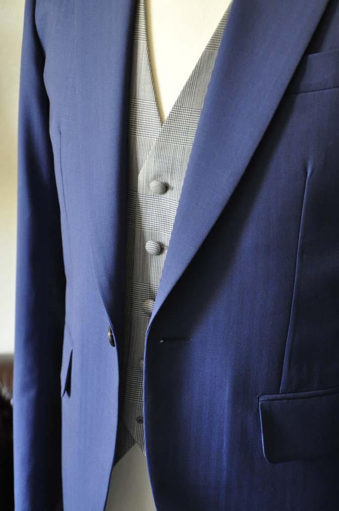 DSC0802-1 お客様のウエディング衣装の紹介- Biellesi ネイビーヘリンボーンスーツ グレーグレンチェックベスト- 名古屋の完全予約制オーダースーツ専門店DEFFERT