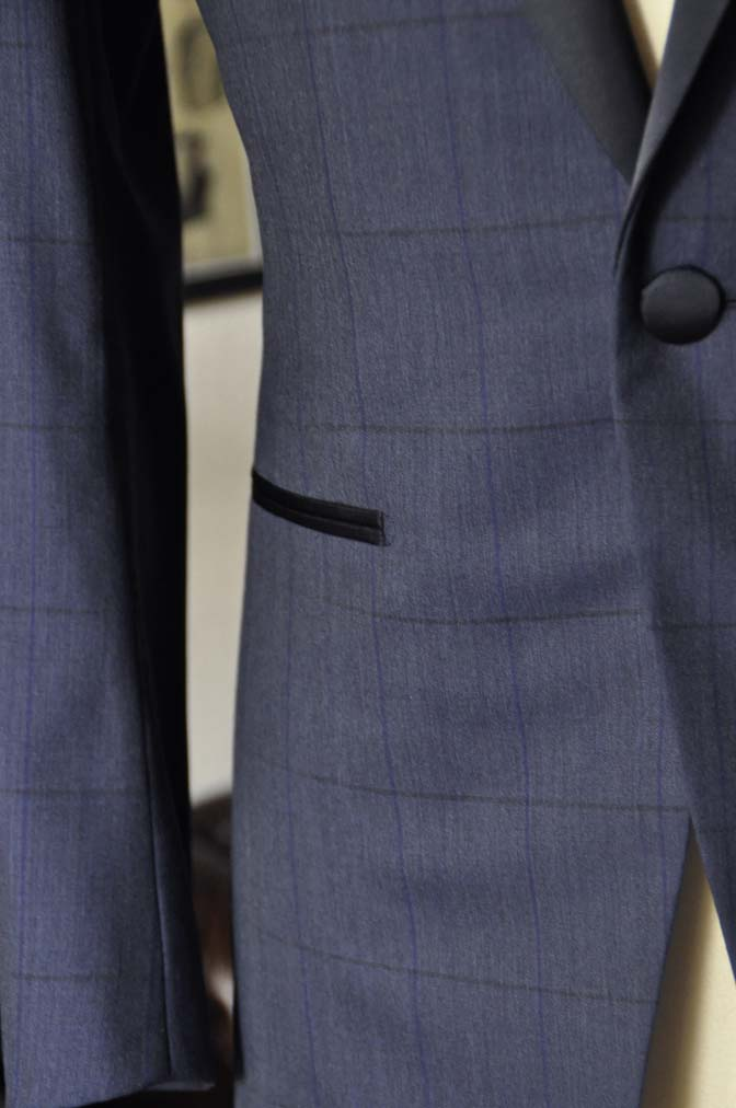 DSC08023 お客様のウエディング衣装の紹介-Biellesiネイビーウィンドペン ショールカラータキシード-