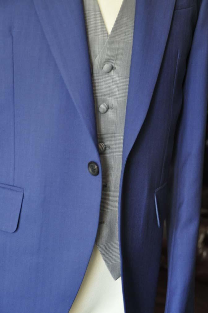 DSC0803-1 お客様のウエディング衣装の紹介- Biellesi ネイビーヘリンボーンスーツ グレーグレンチェックベスト- 名古屋の完全予約制オーダースーツ専門店DEFFERT