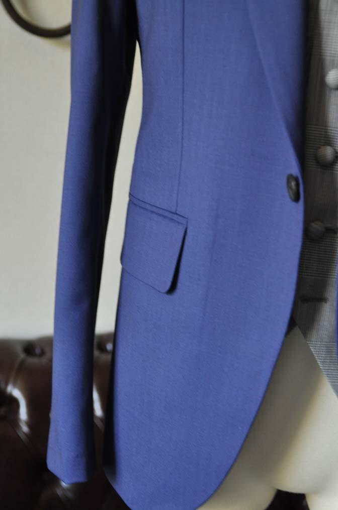 DSC0804-1 お客様のウエディング衣装の紹介- Biellesi ネイビーヘリンボーンスーツ グレーグレンチェックベスト- 名古屋の完全予約制オーダースーツ専門店DEFFERT