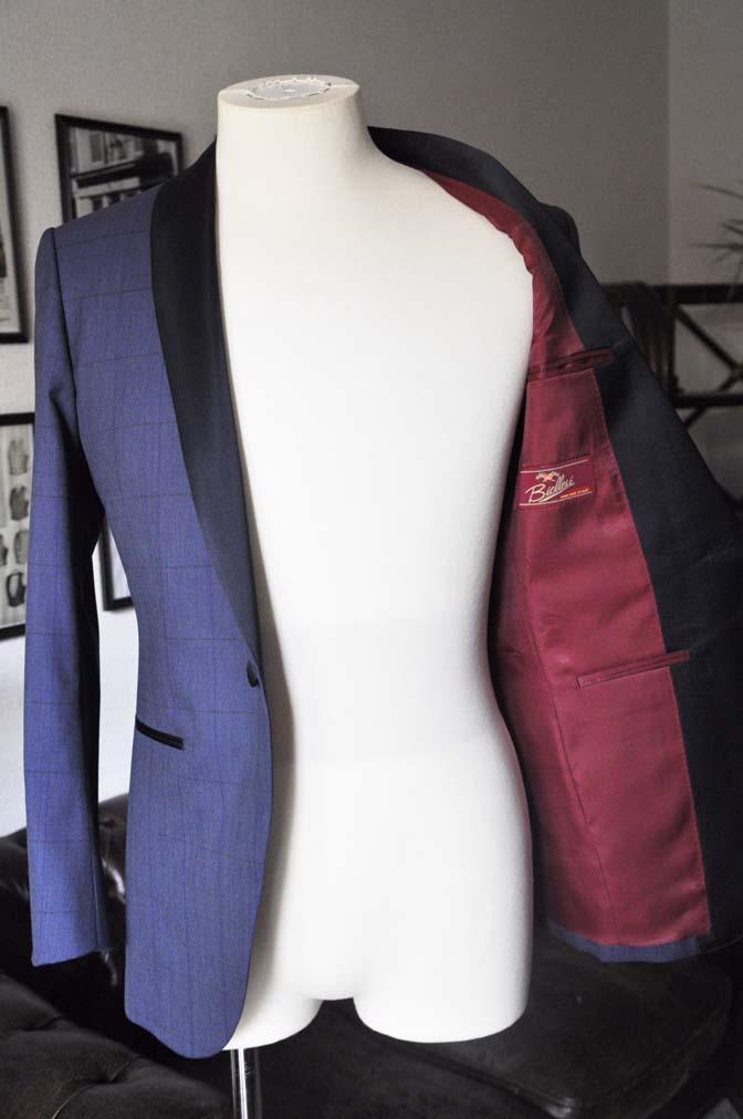 DSC08054 お客様のウエディング衣装の紹介-Biellesiネイビーウィンドペン ショールカラータキシード-