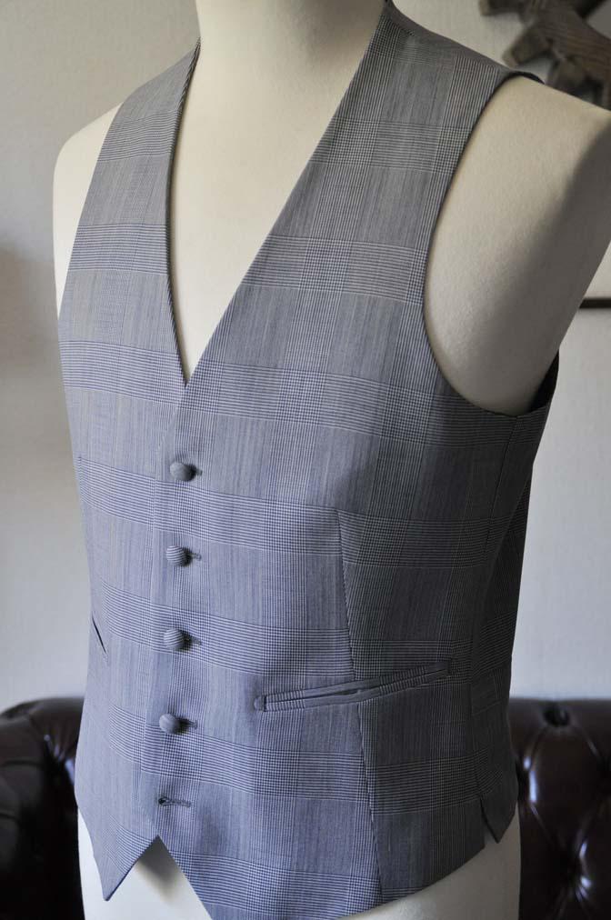 DSC0807-1 お客様のウエディング衣装の紹介- Biellesi ネイビーヘリンボーンスーツ グレーグレンチェックベスト-