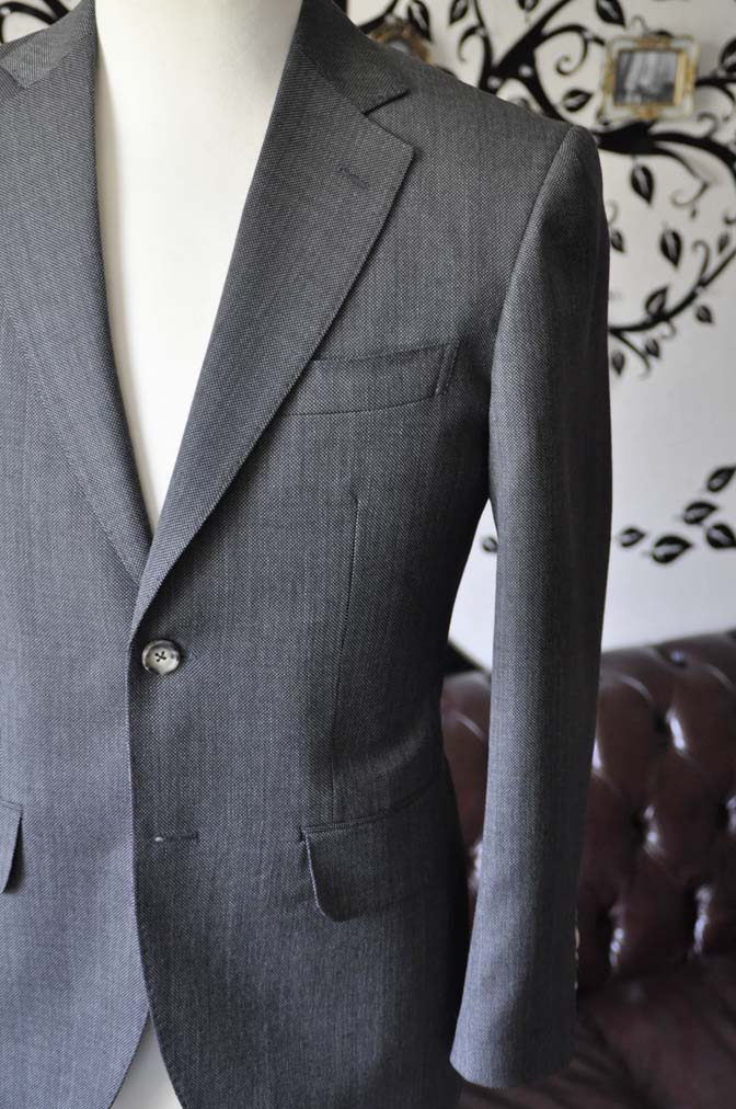DSC0821-3 お客様のスーツの紹介-Biellesiグレーバーズアイ スーツ-