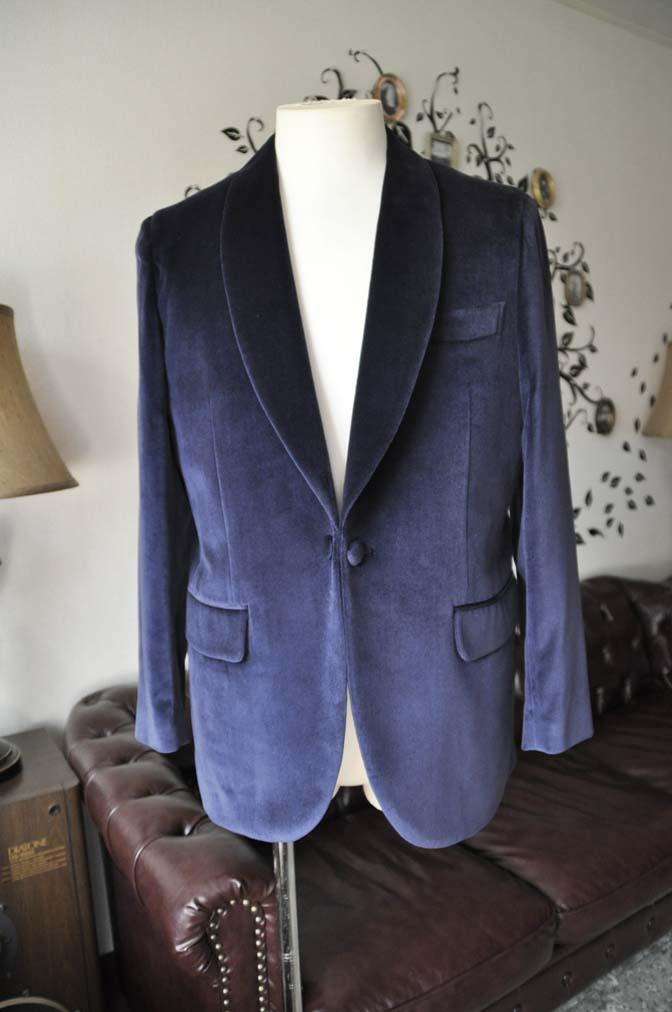DSC0838-3 お客様のジャケットの紹介-DUGDALE ネイビーベルベットショールカラージャケット-