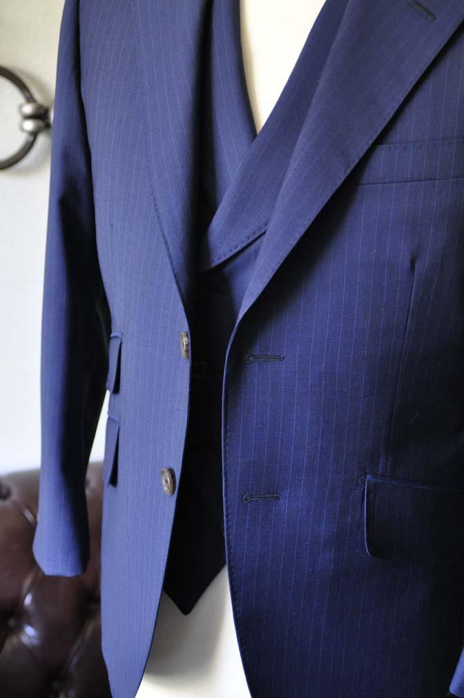 DSC0859-1 お客様のスーツの紹介- Biellesi ネイビーストライプ スリーピース- 名古屋の完全予約制オーダースーツ専門店DEFFERT