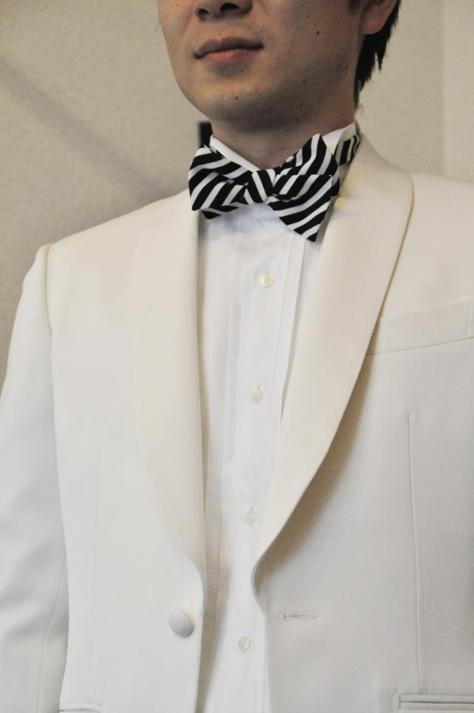 DSC08591 お客様のタキシードの紹介-ホワイト ショールカラータキシード- 名古屋の完全予約制オーダースーツ専門店DEFFERT