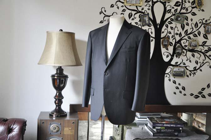 DSC0879-5 お客様のスーツの紹介-DUGDALEブラックストライプスーツ- 名古屋の完全予約制オーダースーツ専門店DEFFERT