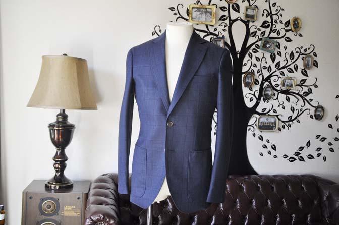 DSC0962-1 お客様のスーツの紹介-DARROW DALEネイビーチェック フランネルスーツ-