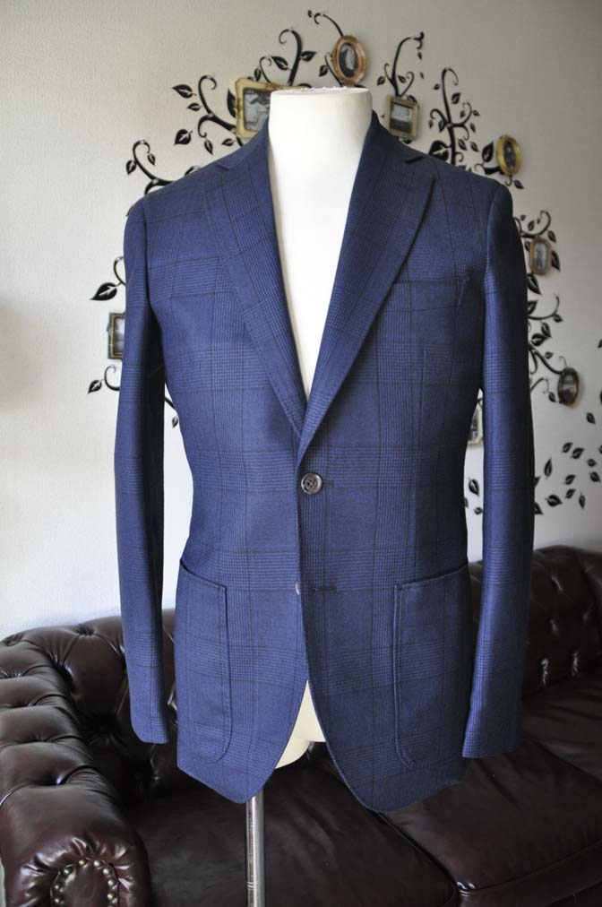 DSC0964-2 お客様のスーツの紹介-DARROW DALEネイビーチェック フランネルスーツ-