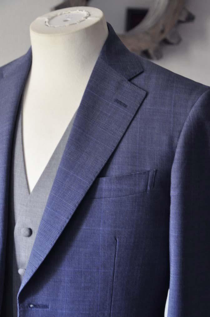 DSC0970-1 お客様のウエディング衣装の紹介- Biellesi ネイビーチェックスーツ グレーベスト-