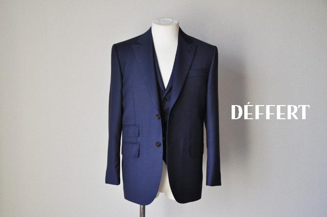 DSC09962 お客様のスーツの紹介-御幸毛織 ネイビーチェック スリーピース-