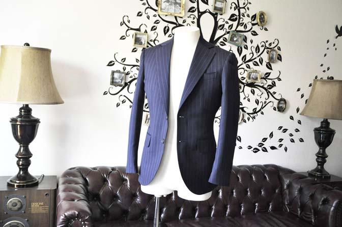 DSC1064-1 お客様のスーツの紹介-Biellesiネイビーストライプスーツ- 名古屋の完全予約制オーダースーツ専門店DEFFERT