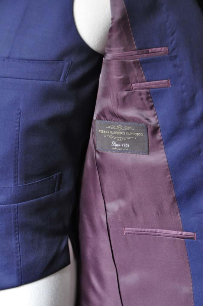 DSC1074-1 お客様のスーツの紹介- Canonico 無地ネイビースリーピーススーツ- 名古屋の完全予約制オーダースーツ専門店DEFFERT