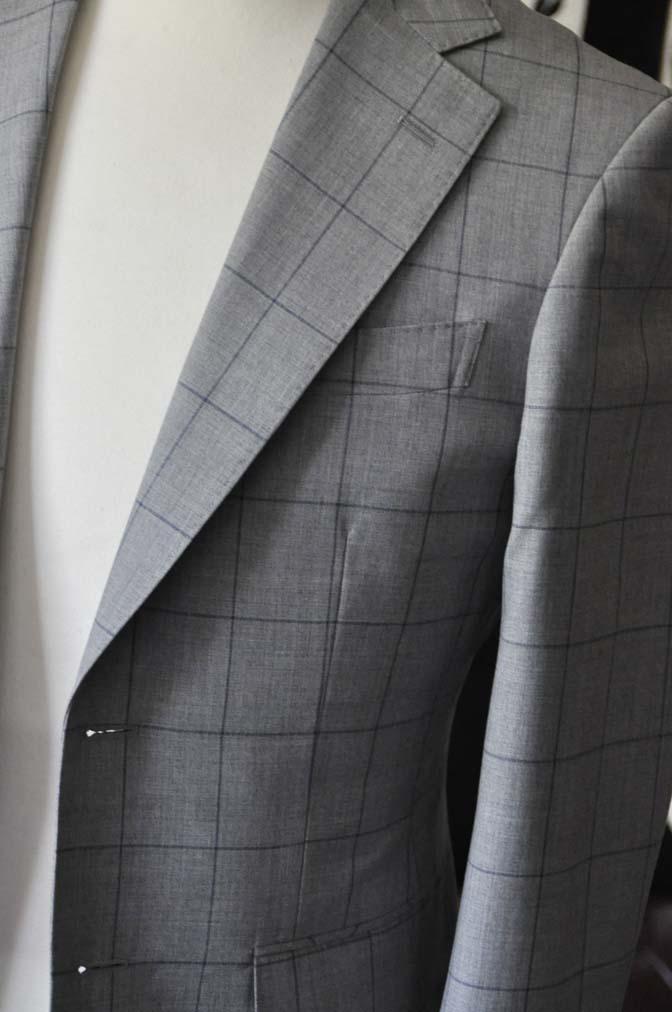 DSC1084-1 お客様のスーツの紹介-Biellesiグレーウィンドペンスーツ- 名古屋の完全予約制オーダースーツ専門店DEFFERT
