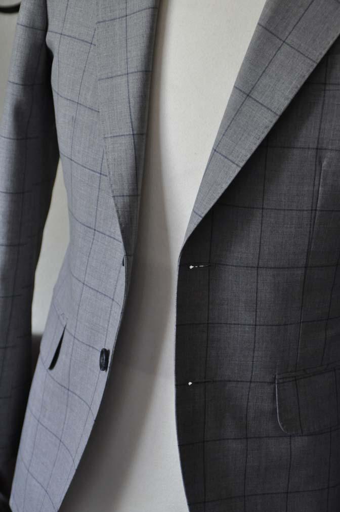 DSC1085-2 お客様のスーツの紹介-Biellesiグレーウィンドペンスーツ- 名古屋の完全予約制オーダースーツ専門店DEFFERT