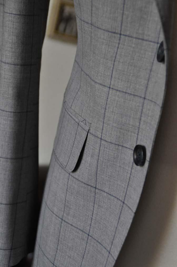 DSC1087-1 お客様のスーツの紹介-Biellesiグレーウィンドペンスーツ- 名古屋の完全予約制オーダースーツ専門店DEFFERT