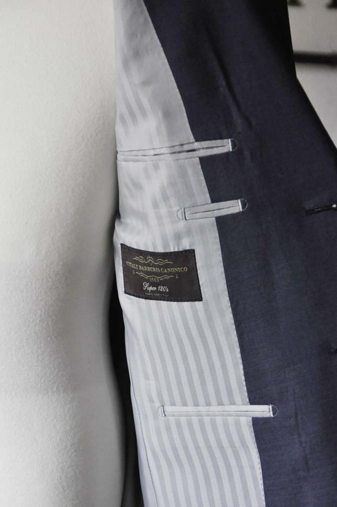DSC1090-1 お客様のスーツの紹介- Canonico 無地ネイビースーツ- 名古屋の完全予約制オーダースーツ専門店DEFFERT