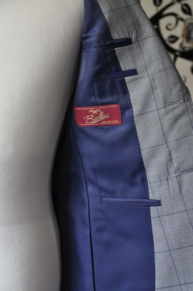 DSC1091 お客様のスーツの紹介-Biellesiグレーウィンドペンスーツ-