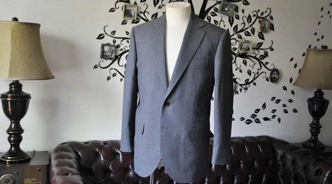 お客様のスーツの紹介-Biellesiグレーストライプスーツ-