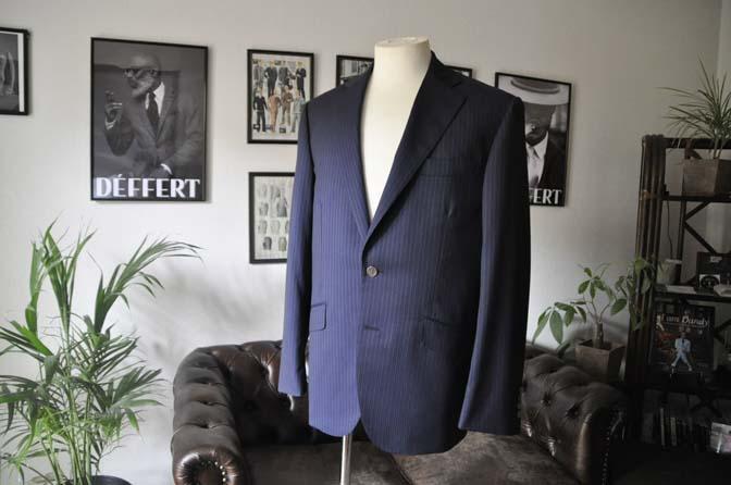 DSC1109 お客様のスーツの紹介-CANONICO ネイビーストライプ- 名古屋の完全予約制オーダースーツ専門店DEFFERT
