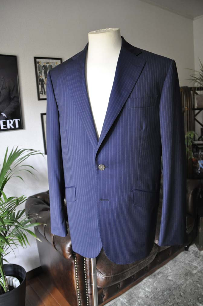 DSC11121 お客様のスーツの紹介-CANONICO ネイビーストライプ- 名古屋の完全予約制オーダースーツ専門店DEFFERT