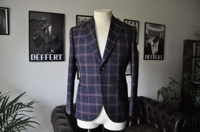 DSC1188 お客様のスーツの紹介-御幸毛織 ネイビーリネンチェック-