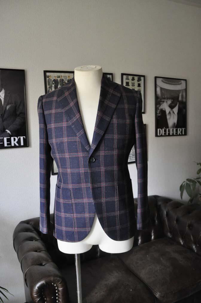 DSC1189 お客様のスーツの紹介-御幸毛織 ネイビーリネンチェック-