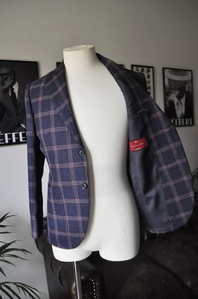 DSC11911 お客様のスーツの紹介-御幸毛織 ネイビーリネンチェック-
