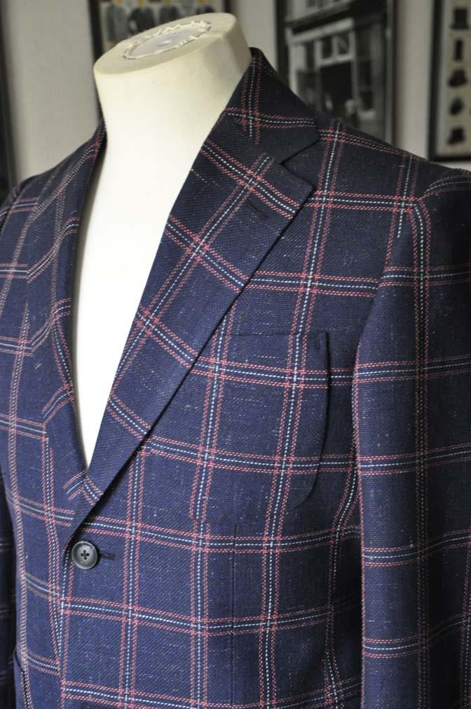 DSC11982 お客様のスーツの紹介-御幸毛織 ネイビーリネンチェック-