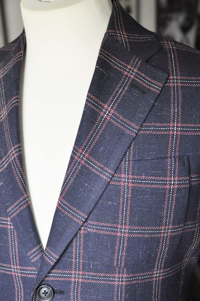 DSC11992 お客様のスーツの紹介-御幸毛織 ネイビーリネンチェック-