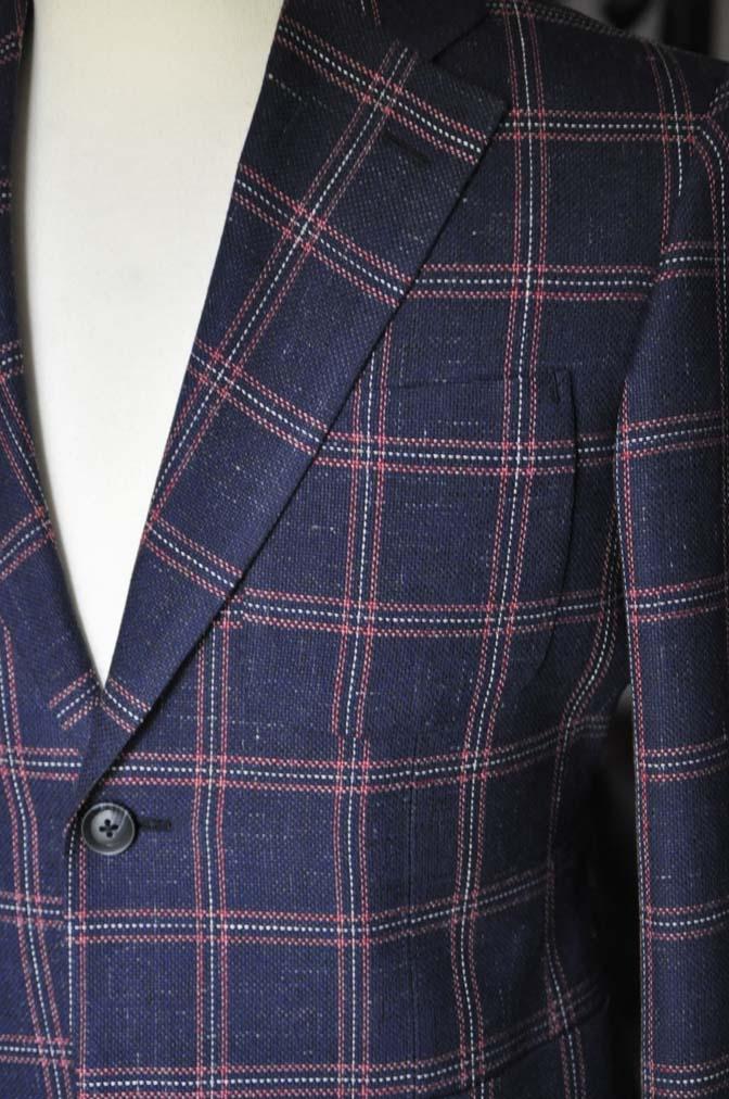 DSC12002 お客様のスーツの紹介-御幸毛織 ネイビーリネンチェック-