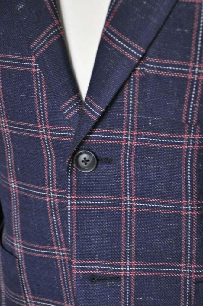 DSC12013 お客様のスーツの紹介-御幸毛織 ネイビーリネンチェック-