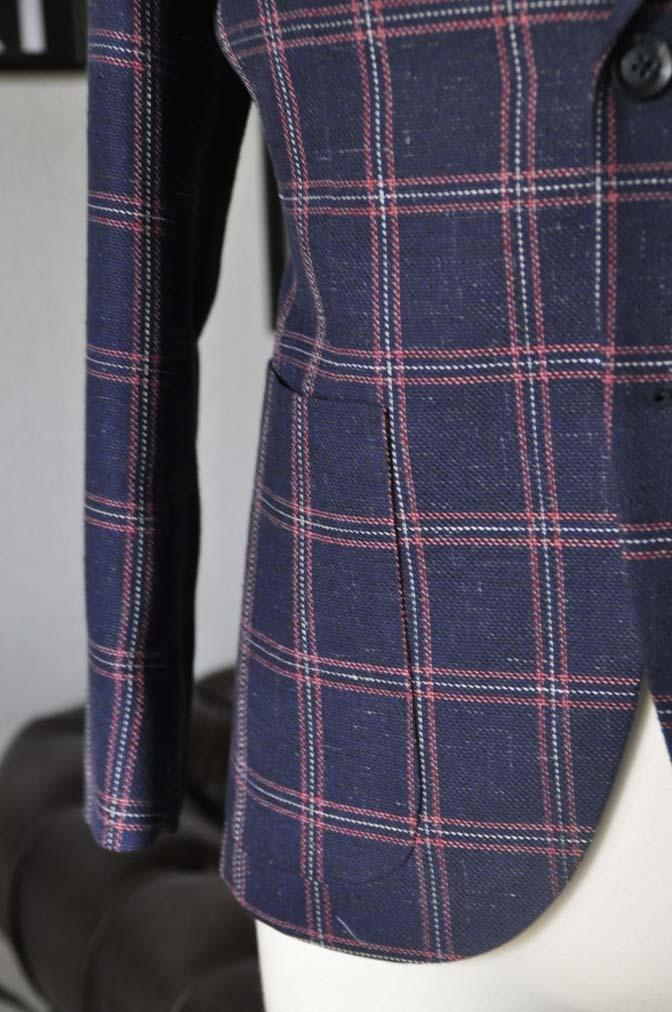DSC12021 お客様のスーツの紹介-御幸毛織 ネイビーリネンチェック-