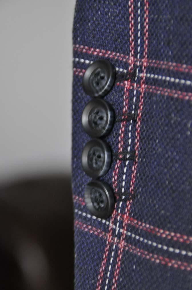 DSC12061 お客様のスーツの紹介-御幸毛織 ネイビーリネンチェック-