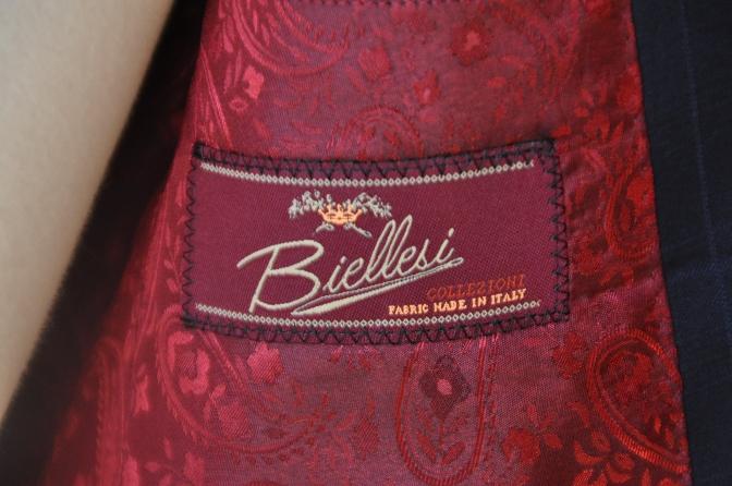 DSC12151 お客様のスーツの紹介-Biellesi ネイビーチェックス-ツ-