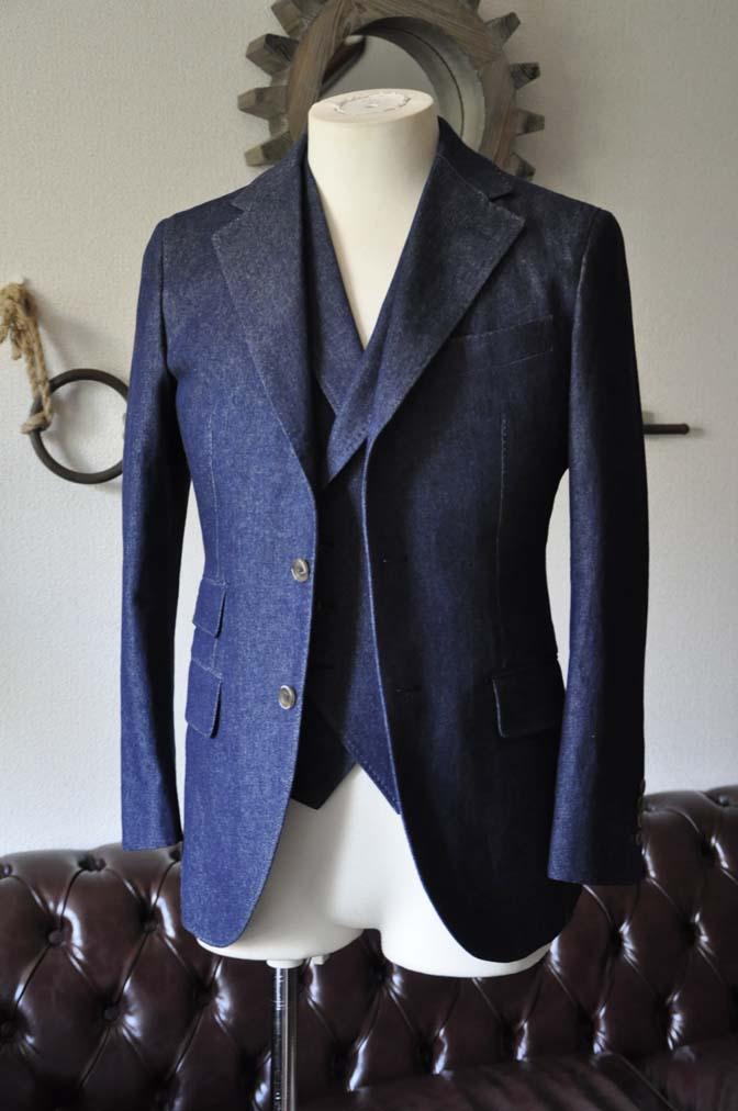 DSC1217-1 お客様のスーツの紹介- デニムスリーピーススーツ- 名古屋の完全予約制オーダースーツ専門店DEFFERT