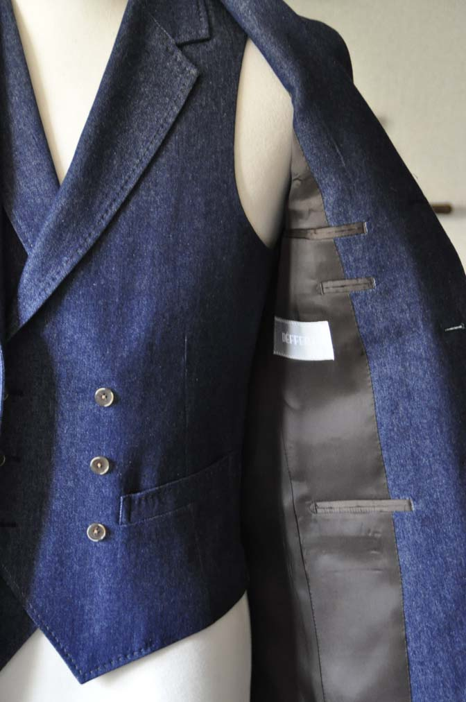 DSC1220-1 お客様のスーツの紹介- デニムスリーピーススーツ- 名古屋の完全予約制オーダースーツ専門店DEFFERT