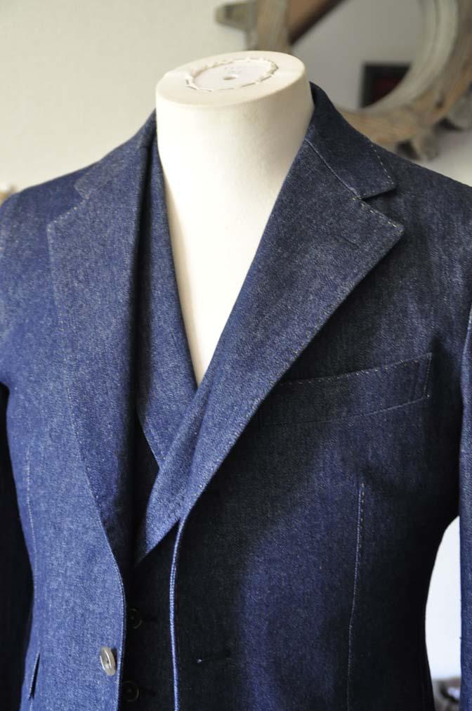 DSC1222-1 お客様のスーツの紹介- デニムスリーピーススーツ- 名古屋の完全予約制オーダースーツ専門店DEFFERT