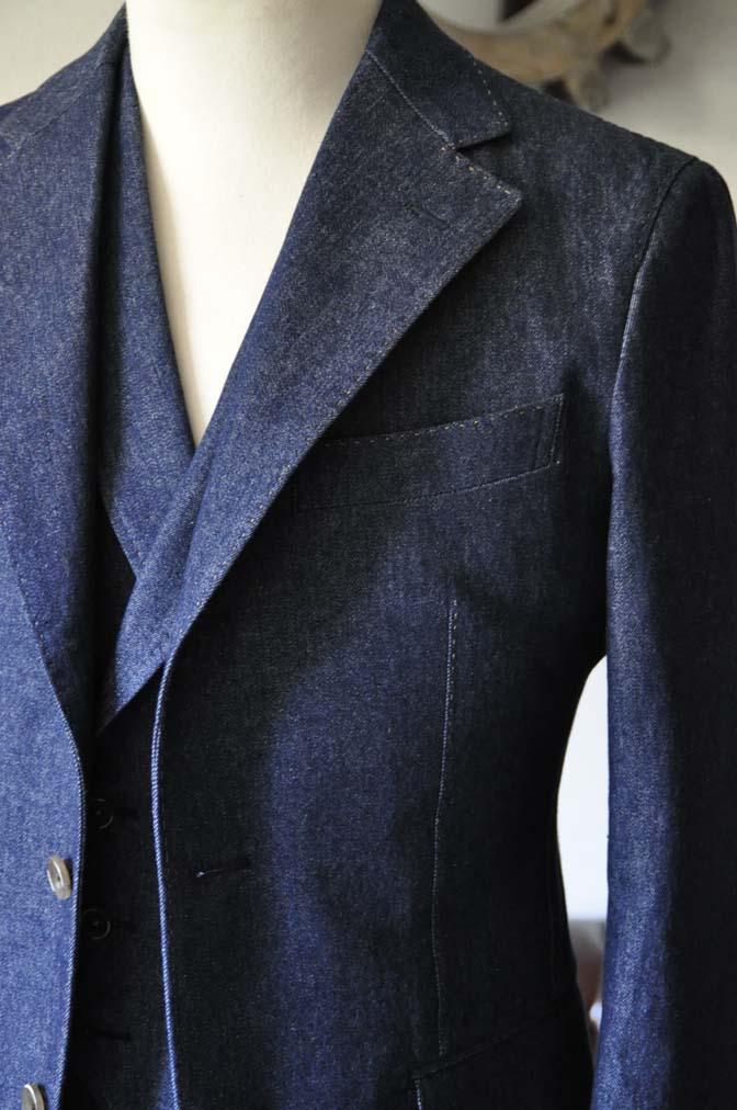DSC1223-1 お客様のスーツの紹介- デニムスリーピーススーツ- 名古屋の完全予約制オーダースーツ専門店DEFFERT
