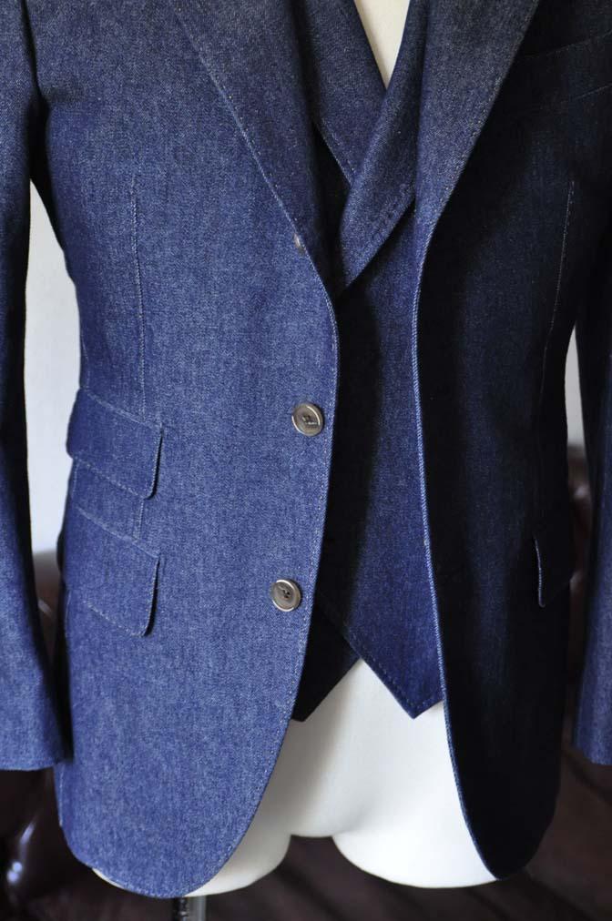 DSC1224-1 お客様のスーツの紹介- デニムスリーピーススーツ- 名古屋の完全予約制オーダースーツ専門店DEFFERT