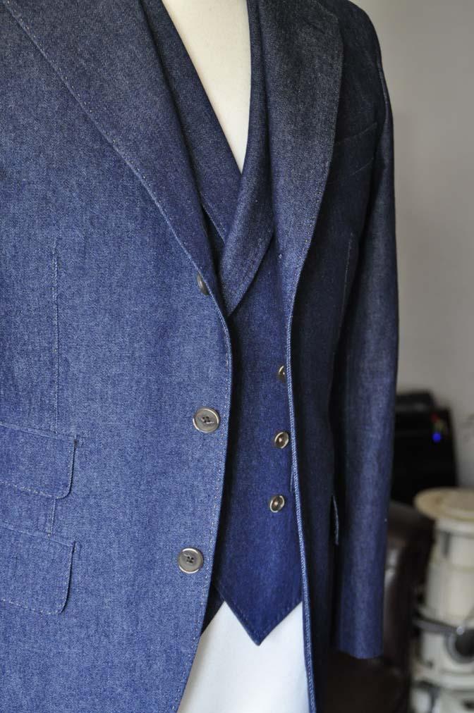 DSC1225-1 お客様のスーツの紹介- デニムスリーピーススーツ- 名古屋の完全予約制オーダースーツ専門店DEFFERT