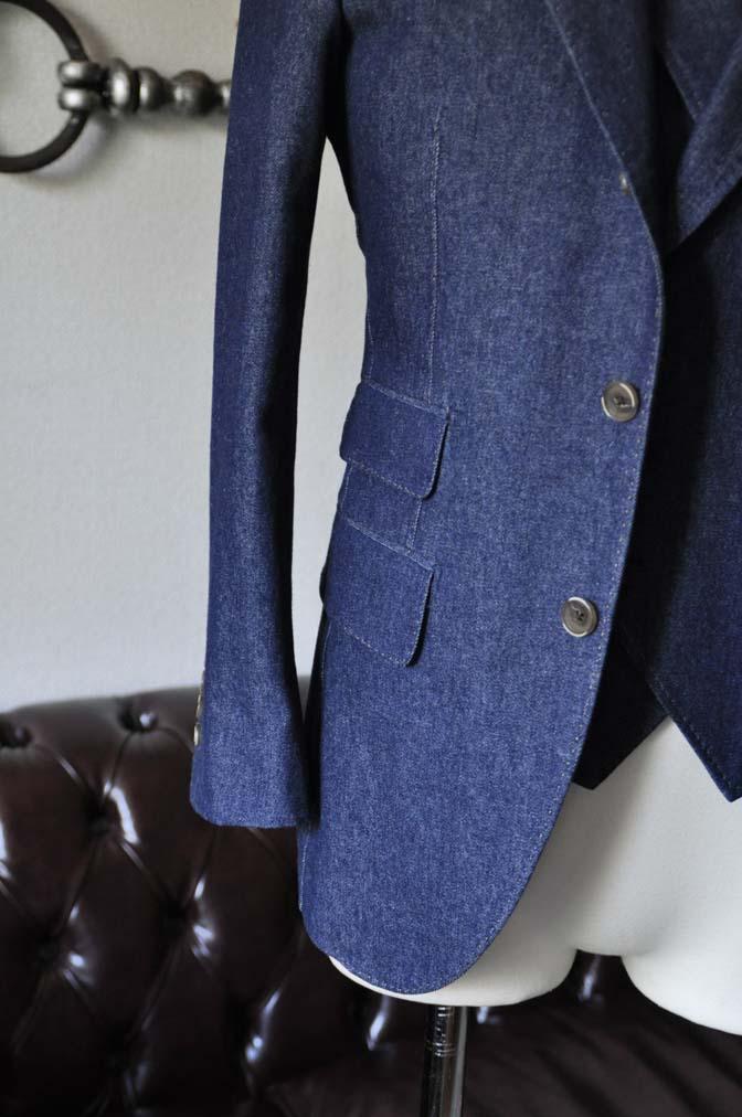 DSC1226-1 お客様のスーツの紹介- デニムスリーピーススーツ- 名古屋の完全予約制オーダースーツ専門店DEFFERT
