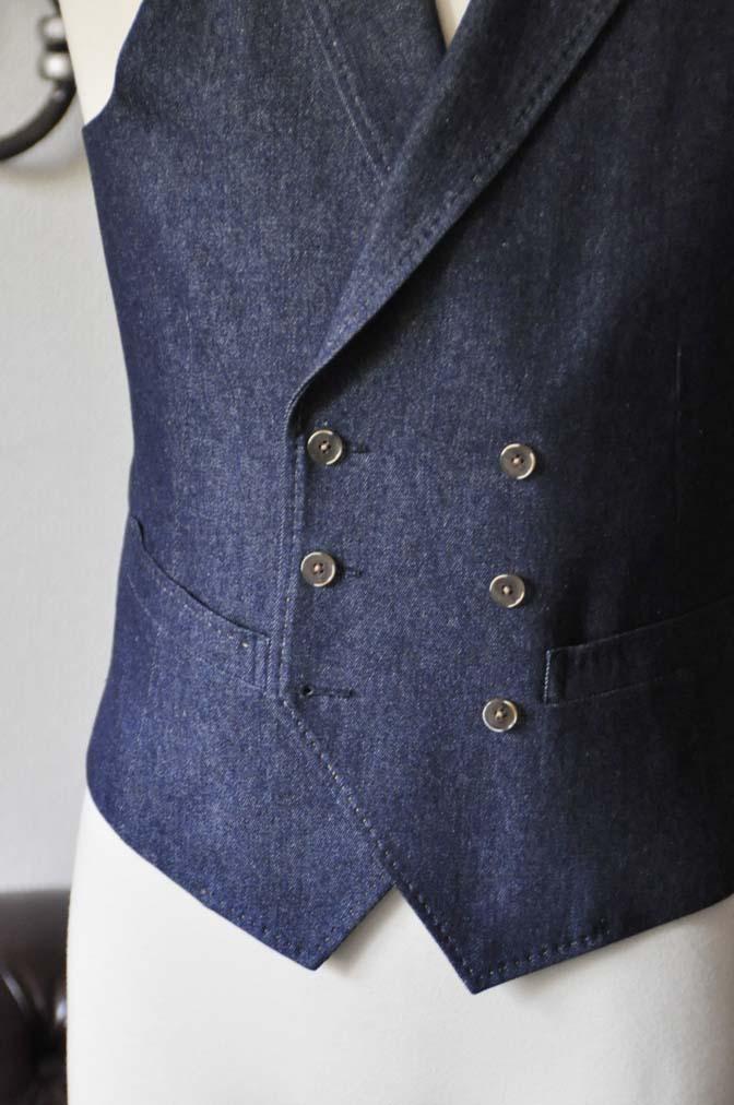 DSC1230-1 お客様のスーツの紹介- デニムスリーピーススーツ- 名古屋の完全予約制オーダースーツ専門店DEFFERT