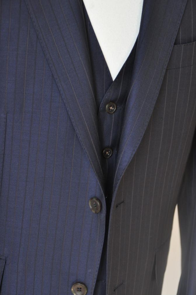DSC1257 お客様のスーツの紹介-Biellesi ネイビーストライプ スリーピース-