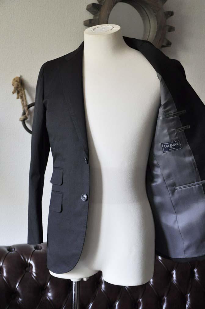 DSC1290-1 お客様のスーツの紹介- Larusmiani ブラックコットンスーツ-