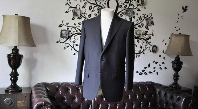 お客様のスーツの紹介-御幸毛織 SHALICK 無地ブラックスーツ-