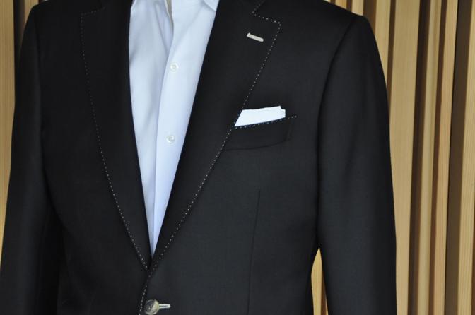 DSC1411-2 オーダージャケットの紹介-DARROWDALEブラックジャケット- 名古屋の完全予約制オーダースーツ専門店DEFFERT