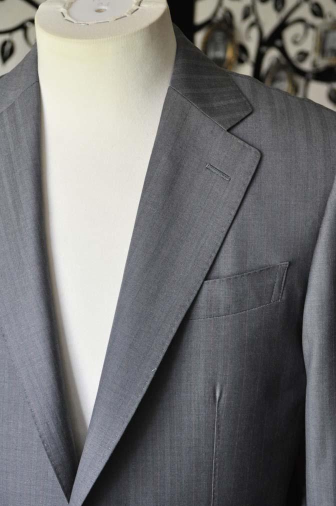 DSC1465-1 お客様のスーツの紹介-SCABAL GOLDEN RIBBONグレーストライプ- 名古屋の完全予約制オーダースーツ専門店DEFFERT