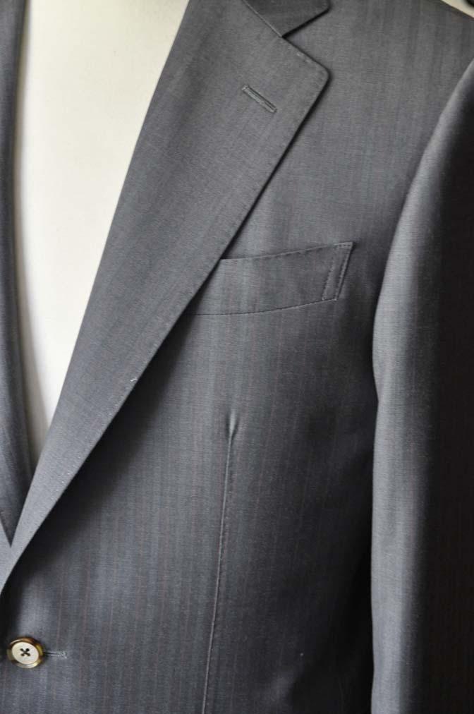 DSC1466-1 お客様のスーツの紹介-SCABAL GOLDEN RIBBONグレーストライプ- 名古屋の完全予約制オーダースーツ専門店DEFFERT