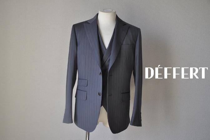 DSC1473 お客様のスーツの紹介-BIELLESI グレーストライプ 衿付ダブルジレのスリーピース-